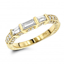 Thin 18K Gold Diamond Engagement Band 0.89ct