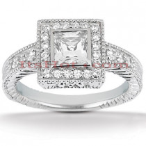 Halo 18K Gold Diamond Engagement Ring Mounting 0.29ct