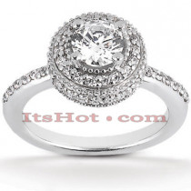 Halo 18K Gold Diamond Engagement Ring Mounting 0.52ct