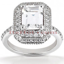 Halo 18K Gold Diamond Engagement Ring Mounting 0.54ct
