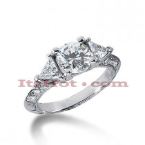 Thin 18K Gold Diamond Engagement Ring Mounting 0.58ct