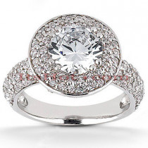 Halo 18K Gold Diamond Engagement Ring Mounting 0.83ct