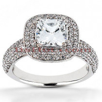 Halo 18K Gold Diamond Engagement Ring Mounting 0.86ct
