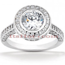 Halo 18K Gold Diamond Engagement Ring Mounting 0.94ct