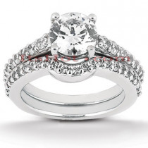 18K Gold Diamond Engagement Ring Set 1.29ct