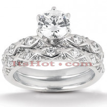 18K Gold Diamond Engagement Ring Set 1ct