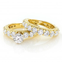 18K Gold Diamond Engagement Ring Set 4.42ct