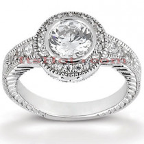Halo 18K Gold Diamond Engagement Ring Setting 0.30ct