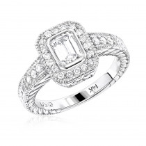 Halo 18K Gold Diamond Engagement Ring Setting 0.31ct