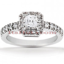 Halo 18K Gold Diamond Engagement Ring Setting 0.36ct
