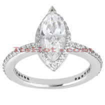 Halo 18K Gold Diamond Engagement Ring Setting 0.46ct