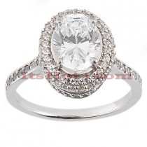 Halo 18K Gold Diamond Engagement Ring Setting 0.52ct