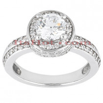 Halo 18K Gold Diamond Engagement Ring Setting 0.53ct