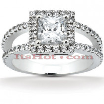 Halo 18K Gold Diamond Engagement Ring Setting 0.64ct