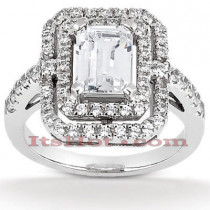Halo 18K Gold Diamond Engagement Ring Setting 0.66ct