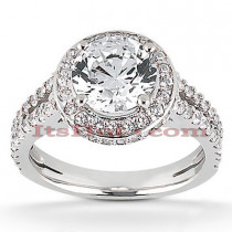 Halo 18K Gold Diamond Engagement Ring Setting 0.67ct