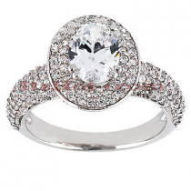 Halo 18K Gold Diamond Engagement Ring Setting 0.77ct