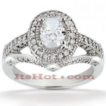 Halo 18K Gold Diamond Engagement Ring Setting 0.79ct