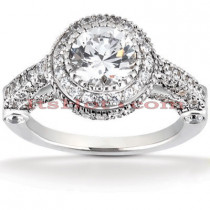 Halo 18K Gold Diamond Engagement Ring Setting 0.87ct