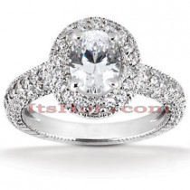 Halo 18K Gold Diamond Engagement Ring Setting 0.92ct