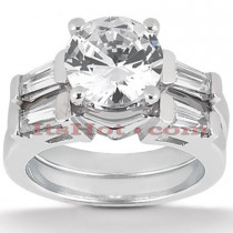 18K Gold Diamond Engagement Ring Setting Set 0.48ct