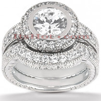 18K Gold Diamond Engagement Ring Setting Set 0.49ct