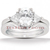 18K Gold Diamond Engagement Ring Setting Set 0.50ct