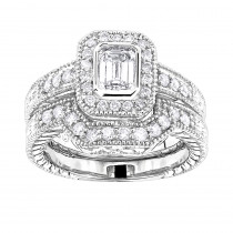 18K Gold Diamond Engagement Ring Setting Set 0.53ct