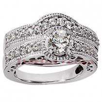 18K Gold Diamond Engagement Ring Setting Set 0.56ct