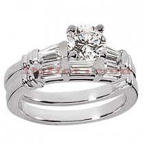 18K Gold Diamond Engagement Ring Setting Set 0.62ct