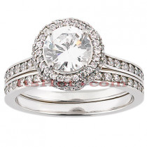 18K Gold Diamond Engagement Ring Setting Set 0.73ct