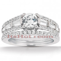 18K Gold Diamond Engagement Ring Setting Set 1.06ct