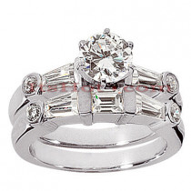 18K Gold Diamond Engagement Ring Setting Set 1.24ct