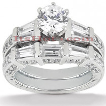 18K Gold Diamond Engagement Ring Setting Set 1.82ct