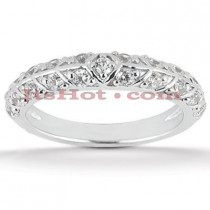 Thin 18K Gold Diamond Engagement Wedding Ring 0.21ct