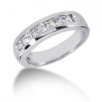18K Gold Diamond Men's Wedding Ring 0.98ct
