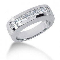 18K Gold Diamond Men's Wedding Ring 1.19ct