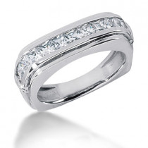 18K Gold Diamond Men's Wedding Ring 1.54ct