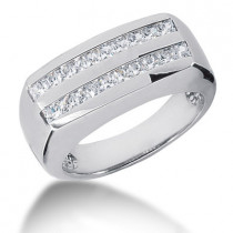 18K Gold Diamond Men's Wedding Ring 1ct