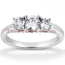 Thin 18K Gold Diamond Three Stones Engagement Ring 0.35ct