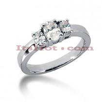 Thin 18K Gold Diamond Three Stones Engagement Ring 0.50ct
