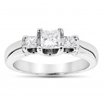 Thin 18K Gold Diamond Three Stones Engagement Ring 0.58ct