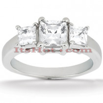 Thin 18K Gold Diamond Three Stones Engagement Ring 0.64ct