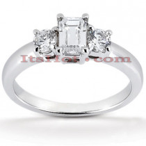 Thin 18K Gold Diamond Three Stones Engagement Ring 0.70ct