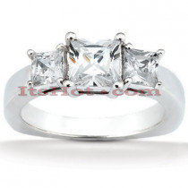 Thin 18K Gold Diamond Three Stones Engagement Ring 0.74ct