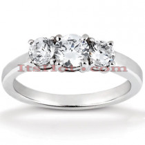 Ultra Thin 18K Gold Diamond Three Stones Engagement Ring 0.80ct