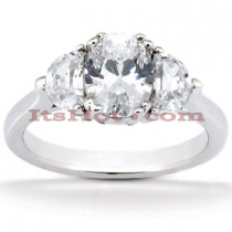 Ultra Thin 18K Gold Diamond Three Stones Engagement Ring 0.90ct