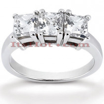 Thin 18K Gold Diamond Three Stones Engagement Ring 0.90ct