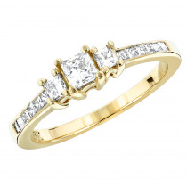 Thin 18K Gold Diamond Three Stones Engagement Ring 0.94ct