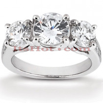 Thin 18K Gold Diamond Three Stones Engagement Ring 0.98ct